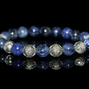 Sodalite Bracelet, Men's Sodalite And Sterling Silver Beads Bracelet, Blue Beads Bracelet, Men's Bracelet, Silver And Blue Bracelet, For Men