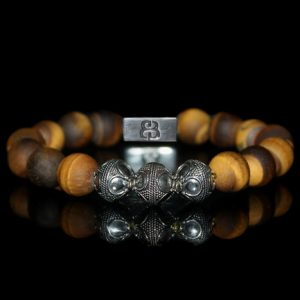 12mm Matte Tigers Eye Bracelet, Tiger's Eye And Sterling Silver Bracelet, Bracelet, Bracelet For Man, For Man, Bracelet For Men, Men