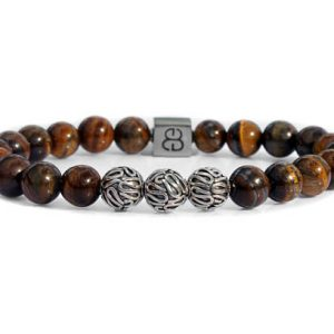 Yellow Tiger's Eye Bracelet, Tiger's Eye And Sterling Silver Bracelet, Men's Tiger's Eye Bracelet, Tiger's Eye And Silver Beads Bracelet