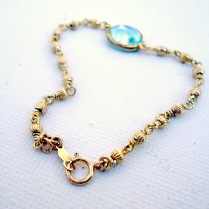 Blue Topaz Bracelet – Gold Vermeil Jewelry – December Birthstone Jewellery – Wire Wrapped – Fancy Chain – Glam – Dainty – Jewel Tones B-124