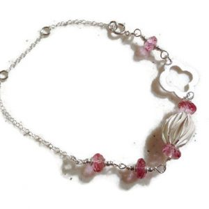 Pink Topaz Bracelet – Sterling Silver Jewelry – Gemstone Jewellery – Chain – Luxe – Couture