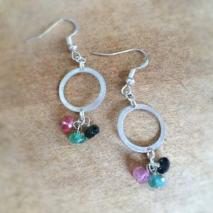 Watermelon Tourmaline Earrings – Pink Green Jewelry – Sterling Silver Jewellery – Gemstone – Dangle – Mod – Fashion