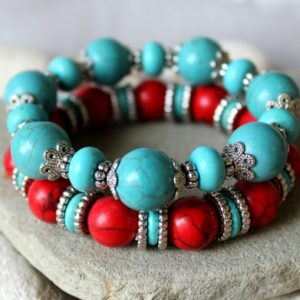 Shop Turquoise Bracelets! Bohemian Bracelet Set, Hippie Bracelet Set, Set of 2 Bracelets, Turquoise Bracelet, Blue Red Bracelet, Tibetian Bracelet, Nepal Bracelet | Natural genuine Turquoise bracelets. Buy crystal jewelry, handmade handcrafted artisan jewelry for women.  Unique handmade gift ideas. #jewelry #beadedbracelets #beadedjewelry #gift #shopping #handmadejewelry #fashion #style #product #bracelets #affiliate #ad