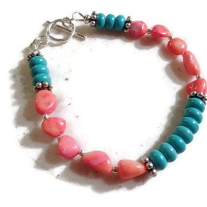 Coral & Turquoise Bracelet – Sterling Silver Jewelry – Gemstone Jewellery – Fashion – Mod – Beaded