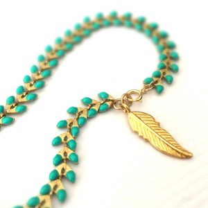 Turquoise Bracelet – Turquoise Jewelry – Gold Jewellery – Feather Charm – Trendy