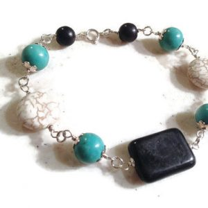 Turquoise Bracelet – Sterling Silver Jewelry – Black & White Gemstone Jewellery – Fashion – Mod