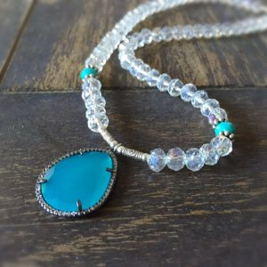 Turquoise Necklace – Crystal Jewelry – Statement – Sterling Silver Jewellery – Unique – Luxe – Pendant – Fashion