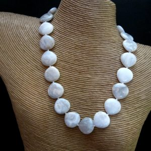 White Crazy Lace Agate Necklace, Sterling Silver, White Crazy Lace Jewelry, Agate Heart Beads, Agate Jewelry, Agate Necklace, White Necklace