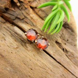 Zircon Stud Earrings, Cinnamon Earrings In Yellow Gold, 6mm