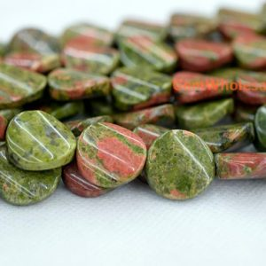 15.5″ 16mm Natural Unakite Twisted Coin, Unakite Wave Coin, High Quality Beads Supply, Semi Precious Stone, Natural Unakite Beads