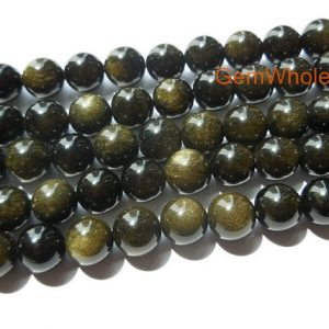 "15.5"" 6mm/8mm/10mm Natural golden obsidian, golden obsidian DIY round beads,golden obsidian round beads, natural stone beads 