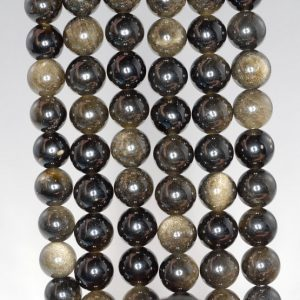 Shop Golden Obsidian Beads! 4mm Chatoyant Golden Sheen Obsidian Gemstone Grade AA Round Loose Beads 15.5 inch Full Strand (90182529-396) | Natural genuine round Golden Obsidian beads for beading and jewelry making.  #jewelry #beads #beadedjewelry #diyjewelry #jewelrymaking #beadstore #beading #affiliate