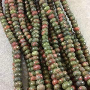"5mm x 8mm Smooth Finish Natural Green/Pink Unakite Rondelle Shaped Beads with 1mm Holes – Sold by 15.5"" Strands (Approximately 80 Beads)"
