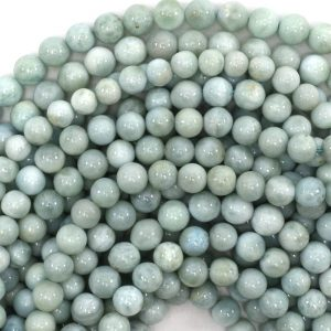 "6.5 – 7mm Natural Blue Larimar Round Beads 15.5"" Strand 39033"