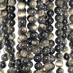 Shop Golden Obsidian Beads! 8mm Chatoyant Golden Sheen Obsidian Gemstone Grade AA Round Loose Beads 15 inch Full Strand (90182601-255) | Natural genuine round Golden Obsidian beads for beading and jewelry making.  #jewelry #beads #beadedjewelry #diyjewelry #jewelrymaking #beadstore #beading #affiliate #ad