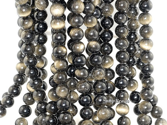 8mm Chatoyant Golden Sheen Obsidian Gemstone Grade Aa Round Loose Beads 15 Inch Full Strand (90182601-255)