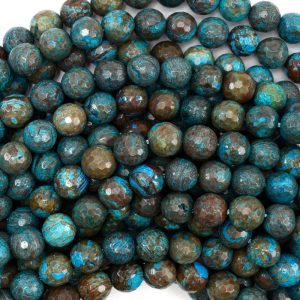 "8mm Faceted Brown Blue Turquoise Round Beads 15.5"" Strand 38749"