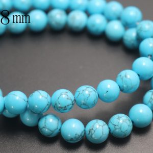 8mm Turquoise Beads,smooth And Round Stone Beads,15 Inches One Starand