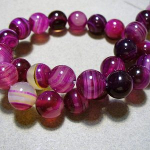 Agate Beads Gemstone Fuchsia Round 10mm