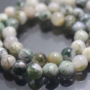 Shop Agate Round Beads! Green Tree Agate Beads,6mm/8mm/10mm/12mm Smooth and Round Beads,15 inches one starand | Natural genuine round Agate beads for beading and jewelry making.  #jewelry #beads #beadedjewelry #diyjewelry #jewelrymaking #beadstore #beading #affiliate #ad