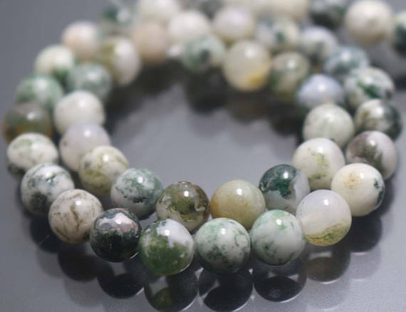 Green Tree Agate Beads,6mm/8mm/10mm/12mm Smooth And Round Beads,15 Inches One Starand