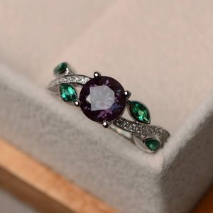 Alexandrite Ring, Leaf Ring, Round Cut Engagement Ring, Gemstone Ring Silver