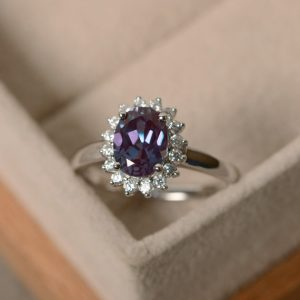 Oval Cut Alexandrite Ring, Halo Ring Silver