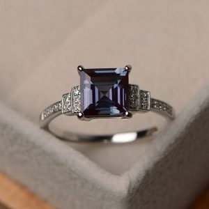 Alexandrite Ring, Square Cut Engagement Ring, Silver Gemstone Ring