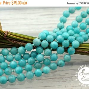 Mothers Day 18% Sale Peruvian Amazonite 9-10mm Round Beads (etb01093)