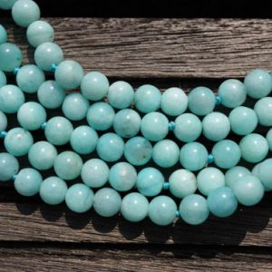 Shop Amazonite Round Beads! Peruvian Amazonite AB grade 5-6mm round beads (ETB00157) | Natural genuine round Amazonite beads for beading and jewelry making.  #jewelry #beads #beadedjewelry #diyjewelry #jewelrymaking #beadstore #beading #affiliate #ad