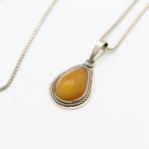 "Shop Amber Pendants! Handcrafted Pear-Shaped Pendant with Amber in Sterling Silver on 24"" Chain. [9989] 