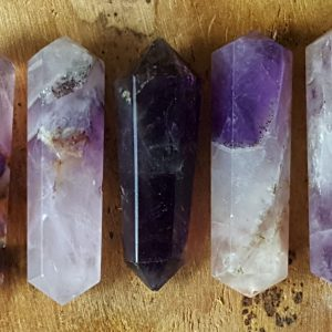 Amethyst Double Terminated Point  – Hand Cut Natural Stone Point For Crystal Grids Or Terrarium 237