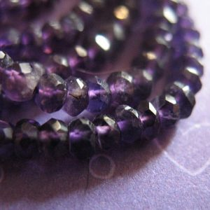 PURPLE AMETHYST Rondelles Beads, Luxe AAA, 1/2 Strand, 3-4 mm, Lush Royal Purple, faceted..  February birthstone solo tr | Natural genuine beads Gemstone beads for beading and jewelry making.  #jewelry #beads #beadedjewelry #diyjewelry #jewelrymaking #beadstore #beading #affiliate #ad