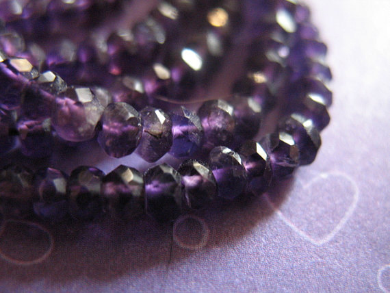 Purple Amethyst Rondelles Beads, Luxe Aaa, 1/2 Strand, 3-4 Mm, Lush Royal Purple, Faceted..  February Birthstone Solo Tr