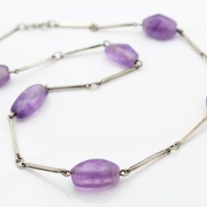 Shop Amethyst Necklaces! Vintage Bar Necklace with Large Amethyst Nuggets in 800 Silver. [9054] | Natural genuine Amethyst necklaces. Buy crystal jewelry, handmade handcrafted artisan jewelry for women.  Unique handmade gift ideas. #jewelry #beadednecklaces #beadedjewelry #gift #shopping #handmadejewelry #fashion #style #product #necklaces #affiliate #ad