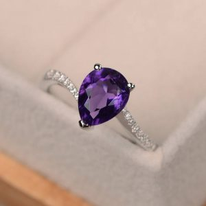 Amethyst Ring, Purple Gemstone Ring, Pear Shaped Ring, Engagement Ring, Promise Ring Silver