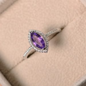 Purple amethyst ring, marquise cut, engagement, silver, February birthstone | Natural genuine Array jewelry. Buy handcrafted artisan wedding jewelry.  Unique handmade bridal jewelry gift ideas. #jewelry #beadedjewelry #gift #crystaljewelry #shopping #handmadejewelry #wedding #bridal #jewelry #affiliate #ad