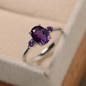 Amethyst ring, purple gemstone, February birthstone,oval cut,three stone ring,proposal ring | Natural genuine Amethyst rings, simple unique handcrafted gemstone rings. #rings #jewelry #shopping #gift #handmade #fashion #style #affiliate #ad
