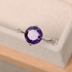 Amethyst Ring, Solitaire Ring, Sterling Silver, Purple Gemstone, February Birthstone Ring, Promise Ring