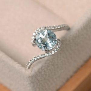 Aquamarine Ring White Gold, Wedding Ring, Round Cut Aquamarine