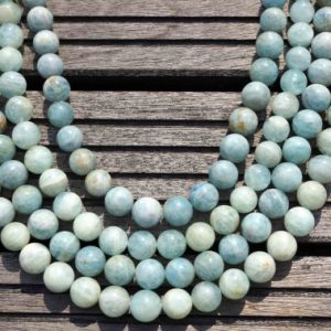 St Patricks Sale Aquamarine Ab Grade 13-14mm Round Beads  (etb00131)