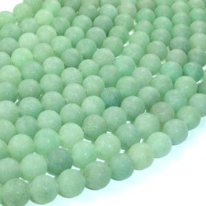 Matte Green Aventurine Beads, Round, 8mm (8.3mm), 15.5 Inch, Full Strand, Approx 49 Beads, Hole 1 Mm, A Quality (249054010)