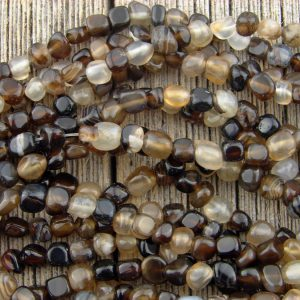 Black Agate Beads 4-5mm Little Pebble Nugget Chip Beads Tiny Rustic Organic Cute