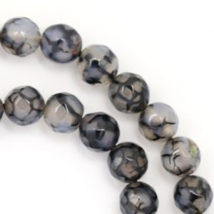 Black Dragon Agate Beads – 8mm Faceted Round