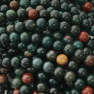 Shop Bloodstone Beads! Bloodstone Beads, 8mm Beads, Blood Stone, Green Beads, Heliotrope, Dark Green, Green Gemstone, Bloodstone Gemstone Beads, Protection Stones | Natural genuine round Bloodstone beads for beading and jewelry making.  #jewelry #beads #beadedjewelry #diyjewelry #jewelrymaking #beadstore #beading #affiliate #ad