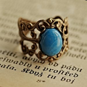 Shop Howlite Jewelry! Blue Howlite Ring on Brass or Silver | Natural genuine Howlite jewelry. Buy crystal jewelry, handmade handcrafted artisan jewelry for women.  Unique handmade gift ideas. #jewelry #beadedjewelry #beadedjewelry #gift #shopping #handmadejewelry #fashion #style #product #jewelry #affiliate #ad