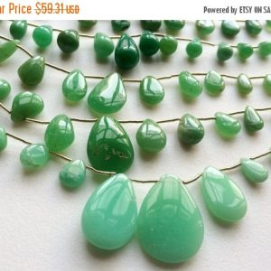 On Sale 55% Chrysoprase Plain Pear Beads, Chrysoprase Necklace, Chrysophase Pear Briolettes, 5×6.5mm – 14.5x21mm, 7 Inch Strand, 13 Pieces