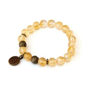 Shop Citrine Bracelets! Citrine bracelet with Lotus charm focal | Natural genuine Citrine bracelets. Buy crystal jewelry, handmade handcrafted artisan jewelry for women.  Unique handmade gift ideas. #jewelry #beadedbracelets #beadedjewelry #gift #shopping #handmadejewelry #fashion #style #product #bracelets #affiliate #ad