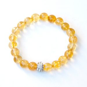 Shop Citrine Bracelets! Citrine bracelet with rhinestone pave focal | Natural genuine Citrine bracelets. Buy crystal jewelry, handmade handcrafted artisan jewelry for women.  Unique handmade gift ideas. #jewelry #beadedbracelets #beadedjewelry #gift #shopping #handmadejewelry #fashion #style #product #bracelets #affiliate #ad