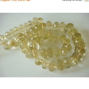 On Sale 55% Citrine Rondelles – 12mm To 9mm Micro Faceted Lemon Citrine Rondelles – Half Strand 8 Inches – 29 Pieces